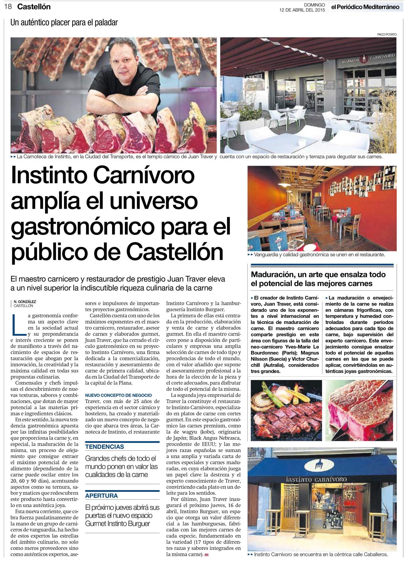 Reportaje El Periódico Mediterráneo, Abril 2015