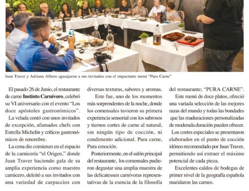 Reportaje en la revista Turisme i Gastronomía sobre el evento los doce apóstoles celebrado en Instinto Carnívoro.