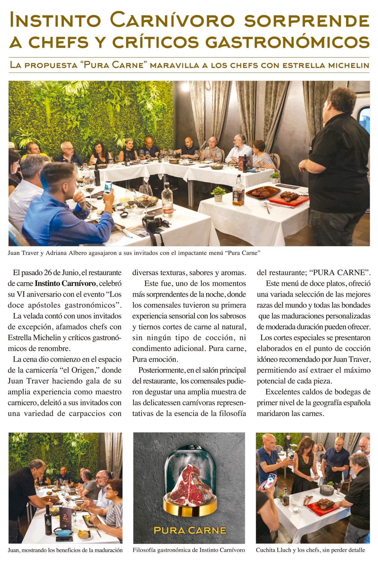 Reportaje en la revista Turisme i Gastronomía sobre el evento los doce apóstoles celebrado en el restaurante Instinto Carnívoro.