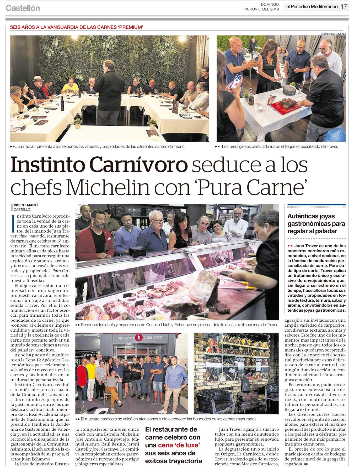 Noticias en el Periódico Mediterráneo sobre el evento gastronómico celebrado el pasado 26 de Junio