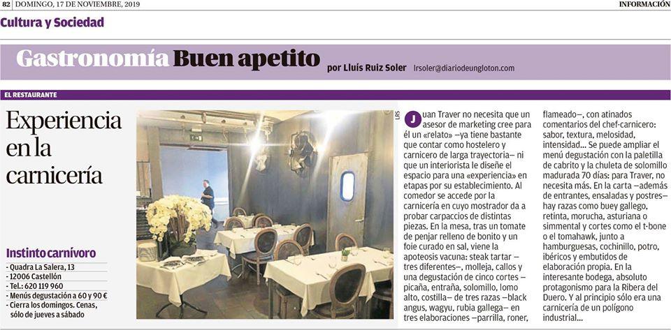 Crítica gastronómica en el Diario la Información de Alicante sobre el restaurante Instinto Carnívoro