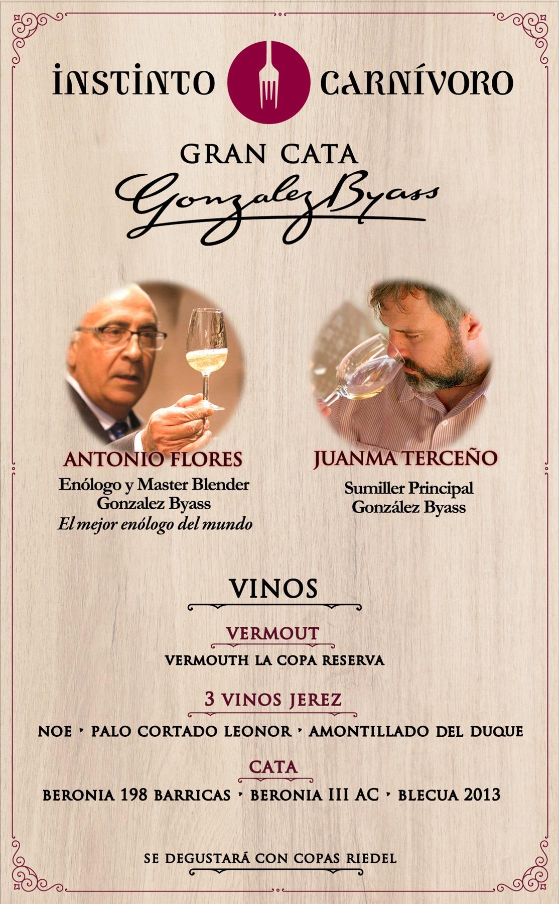 Cata de Vinos Bodegas González Byass en el restaurante Instinto Carnívoro